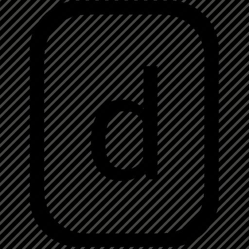 alphabet, d, keyboard, latin, letter, lowcase, mobile icon
