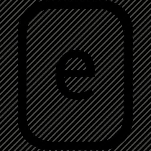 alphabet, e, keyboard, latin, letter, lowcase, mobile icon