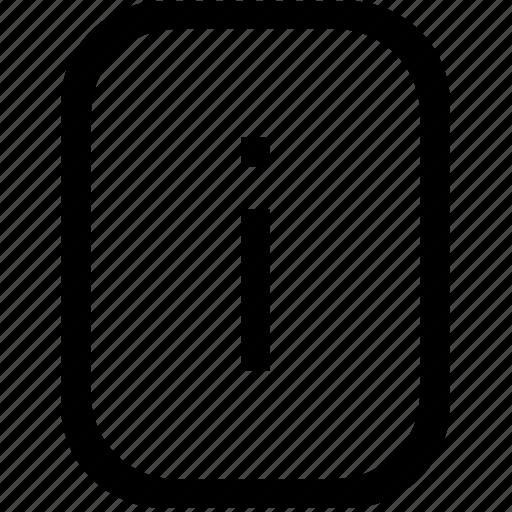 alphabet, i, keyboard, latin, letter, lowcase, mobile icon