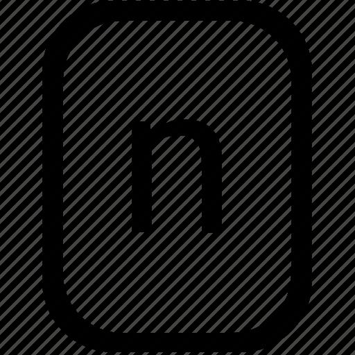 alphabet, keyboard, latin, letter, lowcase, mobile, n icon
