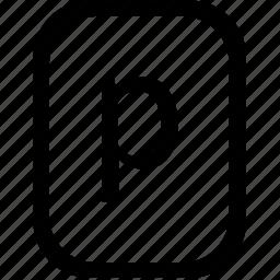 alphabet, keyboard, latin, letter, lowcase, mobile, p icon