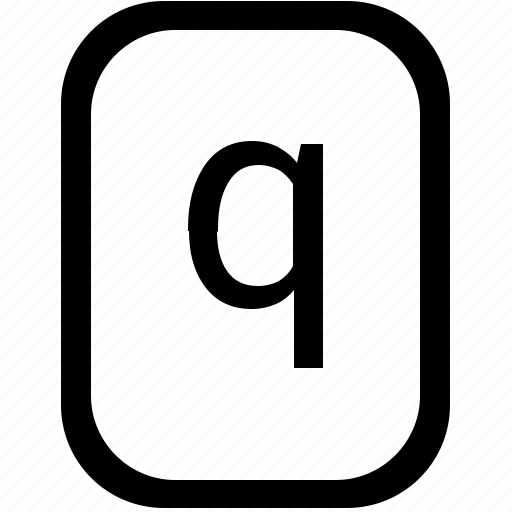 alphabet, keyboard, latin, letter, lowcase, mobile, q icon