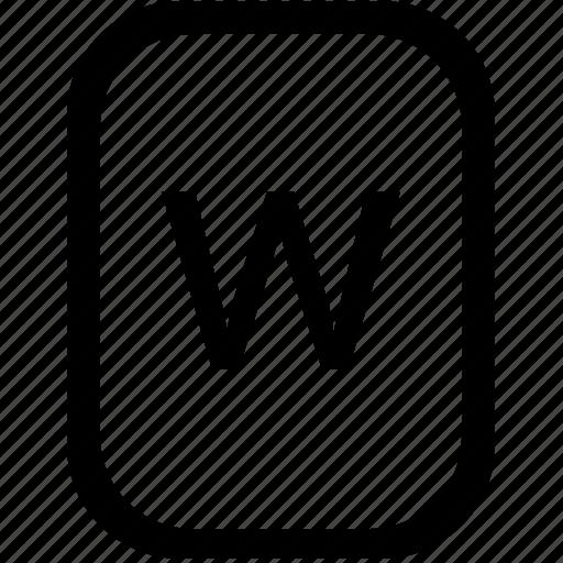 alphabet, keyboard, latin, letter, lowcase, mobile, w icon