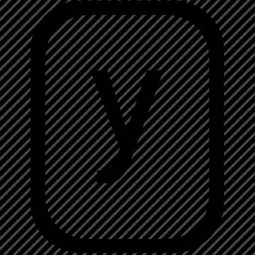 alphabet, keyboard, latin, letter, lowcase, mobile, y icon