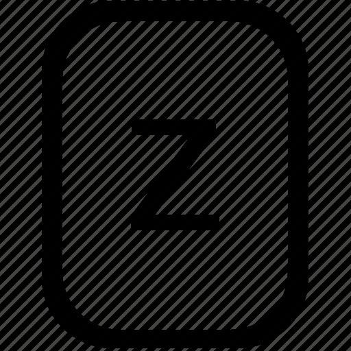 alphabet, keyboard, latin, letter, lowcase, mobile, z icon