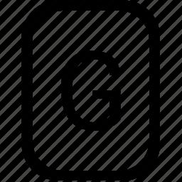 alphabet, g, keyboard, latin, letter, mobile, uppercase icon