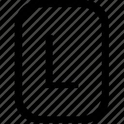 alphabet, keyboard, l, latin, letter, mobile, uppercase icon