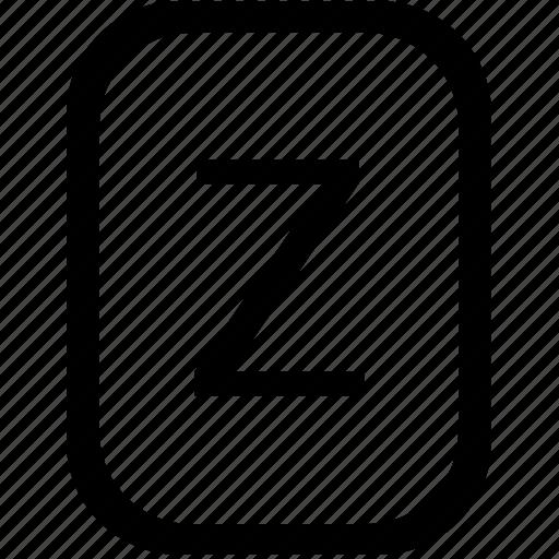 alphabet, keyboard, latin, letter, mobile, uppercase, z icon