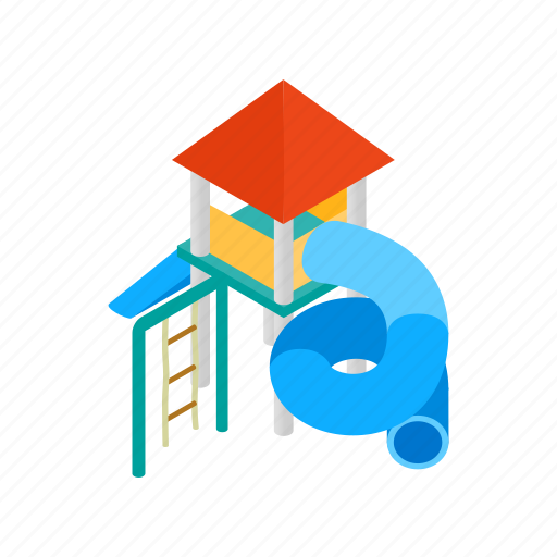 child, fun, isometric, park, play, playground, slide icon