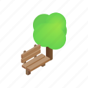 bench, green, isometric, outdoor, park, playground, tree