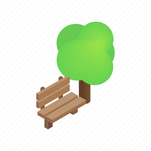 bench, green, isometric, outdoor, park, playground, tree icon