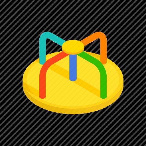 child, fun, isometric, merry-go-round, park, play, playground icon