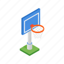 ball, basketball, hoop, isometric, outdoor, playground, sport icon