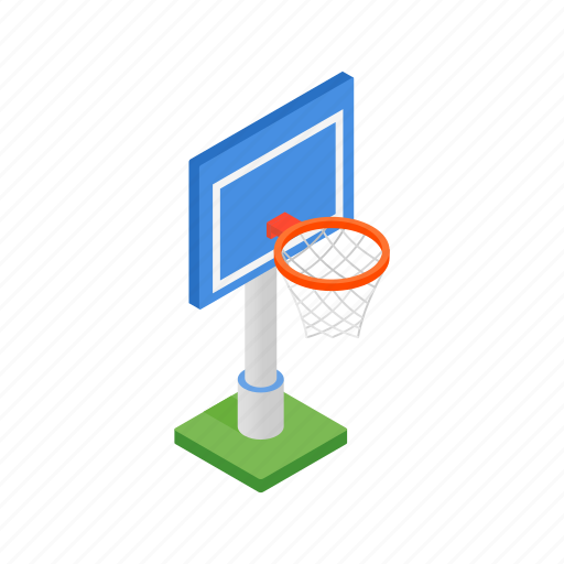 ball, basketball, hoop, isometric, outdoor, playground, sport icon