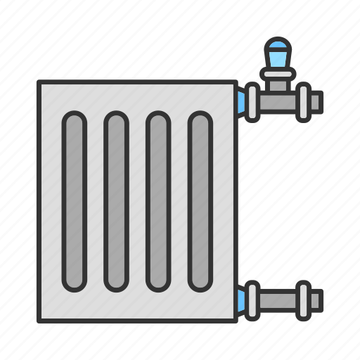 Battery, heater, pipe, plumbing, radiator, warmer, waterpipe icon - Download on Iconfinder