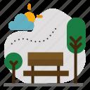 chair, garden, outdoor, outside, park, tree icon