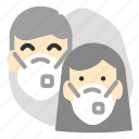 2people, mask, men, wearing, women icon