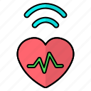 health, heart, podcast, pulse, signal icon
