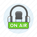 air, audio, broadcast, headset, live, microphone, news, on, podcast, radio, station icon