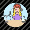 2, female, headset, microphone, podcast, podcaster, recording, streamer, vlogger, youtuber icon
