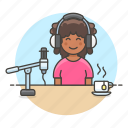 3, female, headset, microphone, podcast, podcaster, recording, streamer, vlogger, youtuber icon