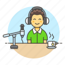 headset, male, microphone, podcast, podcaster, recording, streamer, vlogger, youtuber icon