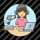 audio, female, laptop, podcast, podcaster, radio, recording, streamer, vlogger, voice, youtuber icon