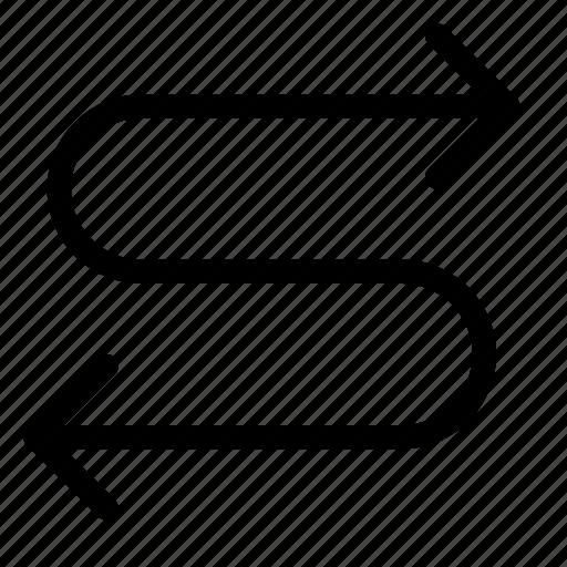 arrow, direction, snake, swerve, turn, zag, zig icon