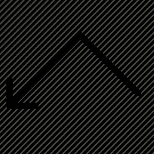 arrow, bounce, left, top, turn icon