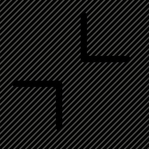chevron, collapse, diagonally, exit, minimize, screen, size icon