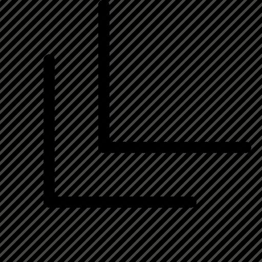 bottom, chevron, corner, double, left icon
