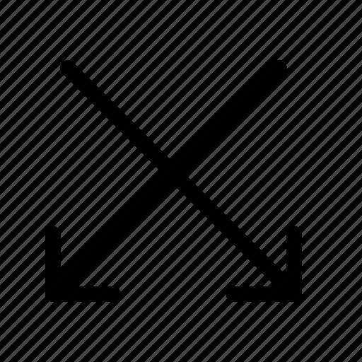 arrow, down, flip, intersect, oncoming, random, shuffle icon