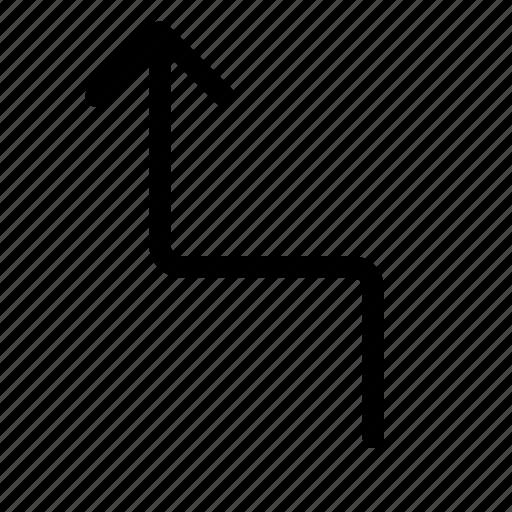arrow, left, turn, up, zag, zig, zigzag icon