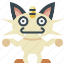 game, gaming, gartoon, meowth, nintendo, pokemon, video icon