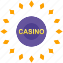 casino, gamble, game, label, round icon