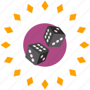dice, gamble, game, label, roll icon
