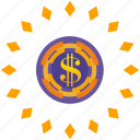 dollar, gamble, game, luck, roll icon