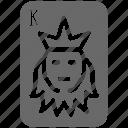 casino, gambling, hazard, king, playing, poker card