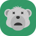 emoticon, expression, face, polarbear, sad, smile