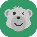 emoticon, expression, face, polarbear, sad, smile icon
