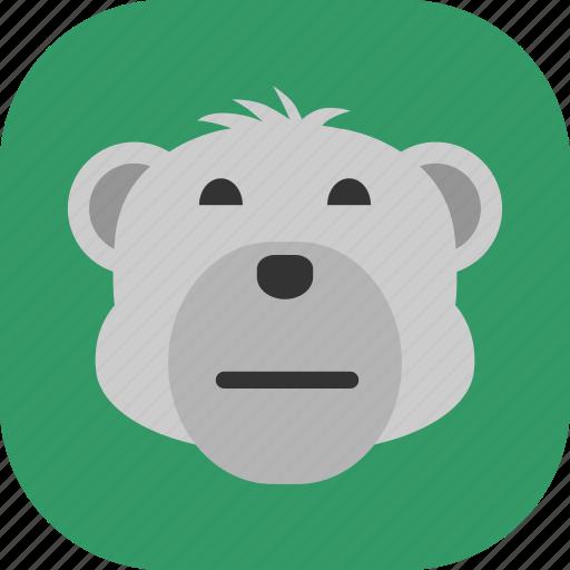 emoticon, expression, face, polarbear, sad, smile icon