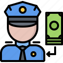 bribe, justice, law, money, penalty, police icon