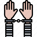 criminal, hand, handcuffs, justice, law, police, policeman icon