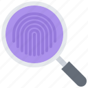 finger, fingerprint, justice, law, magnifier, police, search icon