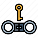 handcuffs, key, lock, police icon
