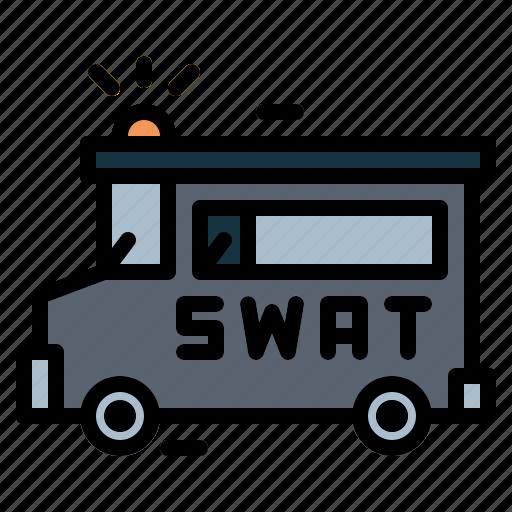 police, sign, swat, van icon