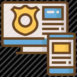 computer, cop, justice, law, police, policeman, security icon