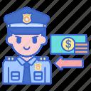 bribe, justice, money, police icon
