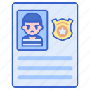 criminal, justice, record, suspect icon