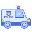 police, transport, van, vehicle icon